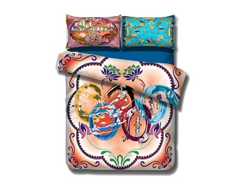 Stylish Five Rings Print 4-Piece Cotton Bedding Sets