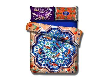 Chic Goldfish Pool Design 4-Piece Cotton Duvet Cover Sets