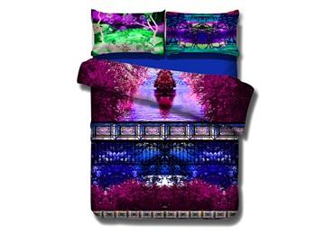 Romantic Violet Sakura Print 4-Piece Cotton Duvet Cover Sets