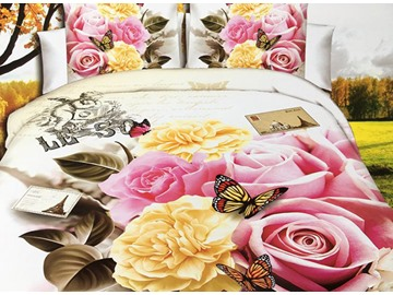Chic Peony and Rose Print 4-Piece Polyester 3D Duvet Cover