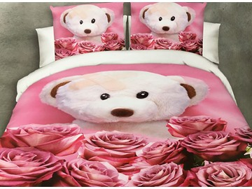 Lovely Bear Doll and Rose Print 4-Piece Polyester Duvet Cover