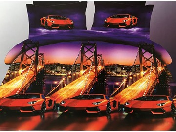 Modern Luxury Cars Print 4-Piece Polyester Duvet Cover