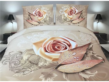 Golden Rose and Leaves Print 4-Piece Polyester 3D Duvet Cover