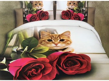 Cute Cat and Red Rose Print 4-Piece Polyester 3D Duvet Cover