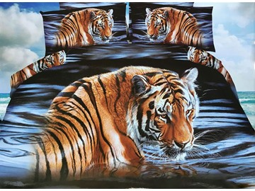 Imperial Tiger Print 4-Piece Polyester 3D Duvet Cover
