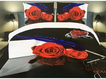Beautiful Red Rose and Feather Print 4-Piece Polyester 3D Duvet Cover