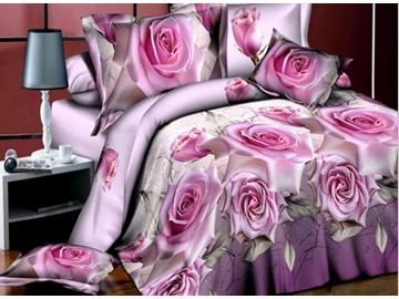 Noble Pink Rose 3D Printed 4-Piece Polyester Duvet Cover