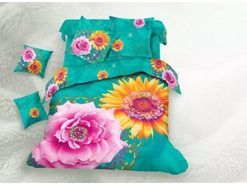 Attractive Sunflower and Peony Printed 4-Piece Cotton 3D Duvet Cover Sets