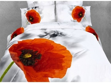 Lifelike 3D Poppy Printed 4-Piece Cotton Duvet Cover Sets