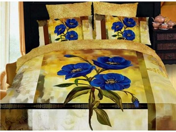 Fancy Blue Pansy Print 4-Piece Cotton 3D Duvet Cover Sets