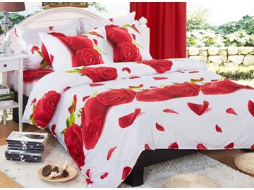 Romantic 3D Red Rose Printed 4-Piece Polyester Duvet Cover Sets