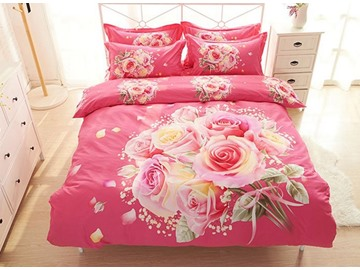 A Bunch of Pink Rose Print 4-Piece Cotton Duvet Cover Sets