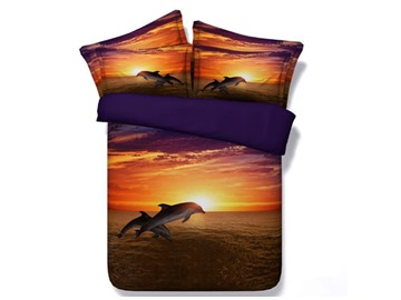 3D Leaping Dolphin at Sunset Printed Cotton 4-Piece Bedding Sets/Duvet Covers