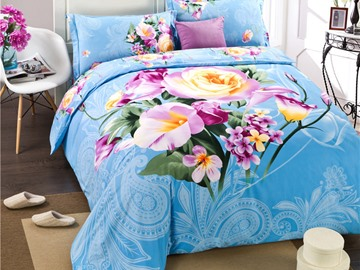 Beautiful Calla Lily and Rose Print 4-Piece Cotton Duvet Cover Sets