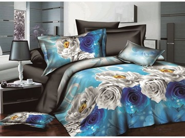 Noble Blue Rose and White Penoy Print Polyester 4-Piece Duvet Cover Sets