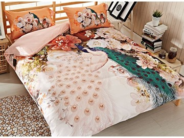 Noble White and Green Peacock Print 4-Piece Cotton Duvet Cover Sets