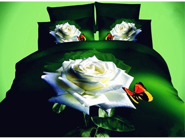 White Rose and Butterfly Print 3D 4-Piece Polyester Duvet Cover Sets