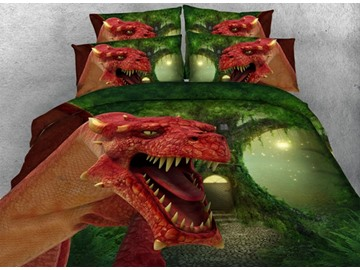 3D Red Dinosaur and Green Tree Printed Cotton 4-Piece Bedding Sets/Duvet Covers