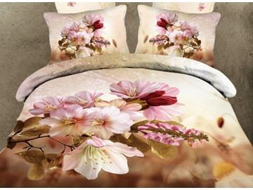 Adorable Pink Cherry Blossom Print 4-Piece Cotton Duvet Cover Sets