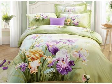 Lifelike Charming Iris 3D Print 4-Piece Cotton Duvet Cover Sets