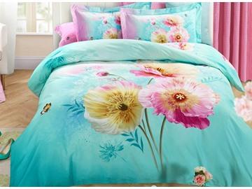 3D Corn Poppy Printed Cotton 4-Piece Bedding Sets/Duvet Covers