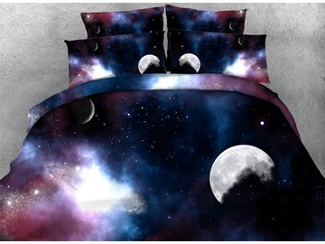 3D Moon and Galaxy Printed 4-Piece Bedding Sets/Duvet Covers