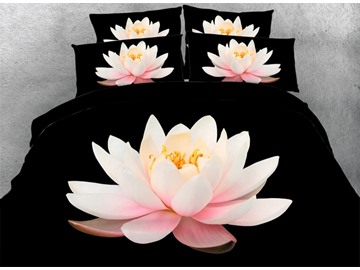 3D Pink Lotus Printed Cotton 4-Piece Black Bedding Sets/Duvet Covers