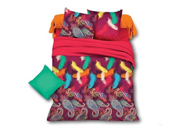 Paisley and Feather Print Polyester 4-Piece Duvet Cover Sets