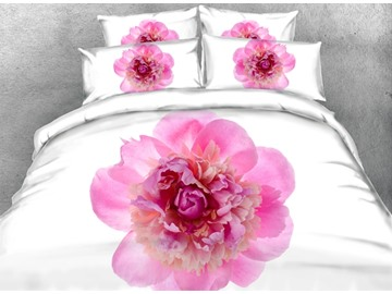 Pink Peony Printed Cotton 4-Piece White 3D Bedding Sets/Duvet Covers