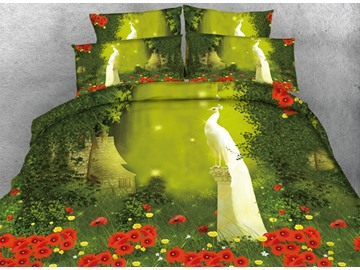 White Peacock in the Woods Print 4-Piece Duvet Cover Sets
