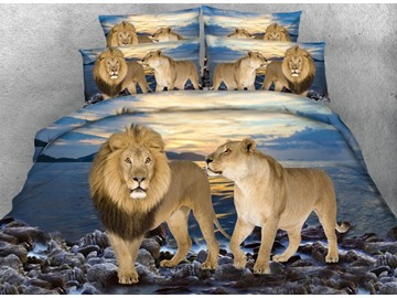 3D Lion Couple and Blue Ocean Printed Cotton 4-Piece Bedding Sets/Duvet Covers
