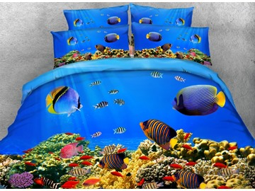 3D Fish Aquarium Digital Printing 4-Piece Bedding Sets