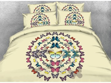 3D Multi-colored Butterfly Printed Cotton 4-Piece Bedding Sets/Duvet Covers