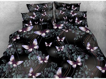 3D Butterfly and Floral Shadow Printed Cotton 4-Piece Bedding Sets/Duvet Covers