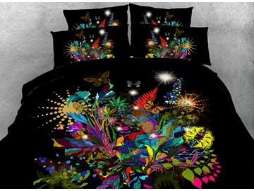 Wonderful Multi-colored Butterfly Print 5-Piece Comforter Sets