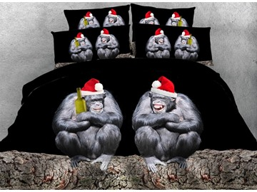 3D Orangutan with Santa Hat Printed Cotton 4-Piece Bedding Sets/Duvet Covers
