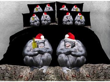Orangutan with Santa Hat Printed Cotton 3D 4-Piece Bedding Sets/Duvet Covers