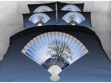 3D Folding Fan Printed Cotton 4-Piece Blue Bedding Sets/Duvet Covers