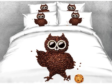 3D Coffee Bean Owl Printed Cotton 4-Piece White Bedding Sets/Duvet Covers