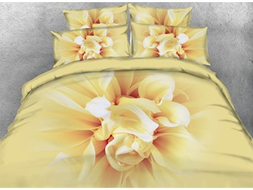 Blooming Flower Printed Cotton 3D 4-Piece Bedding Sets/Duvet Covers