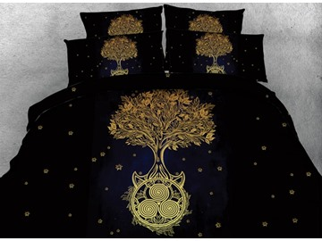 3D Golden Tree Printed Cotton 4-Piece Black Bedding Sets/Duvet Covers