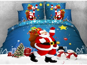 3D Smiling Santa Claus and Snowman Printed Cotton 4-Piece Bedding Sets/Duvet Covers