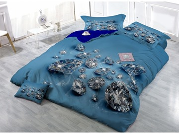 Shining Diamond Digital Printing Satin Drill 4-Piece Duvet Cover Sets