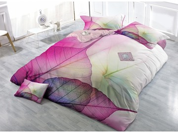 Creative Leaves Print Satin Drill 4-Piece Duvet Cover Sets