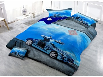 Luxury Car Print Satin Drill 4-Piece Duvet Cover Sets