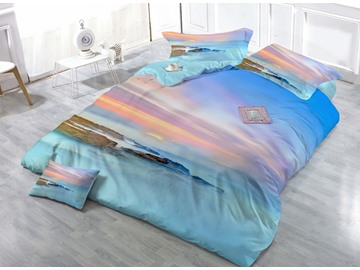 Seashore Sunset in the Mist Print 4-Piece Duvet Cover Sets