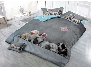 3D Couple Puppies Printing Satin Dril Gray 4-Piece Duvet Cover Sets
