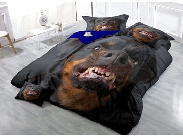 Angry Rottweiler Face Print Satin Drill 4-Piece Black Duvet Cover Sets