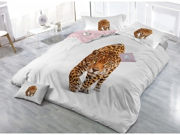 Imperial Leopard Print Satin Drill 4-Piece Duvet Cover Sets