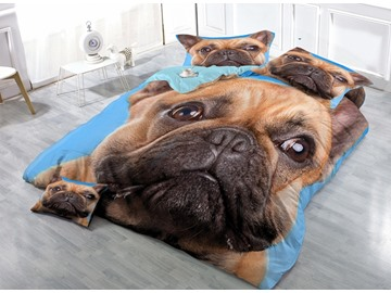 Lovely Shar Pei Print Satin Drill 4-Piece Duvet Cover Sets